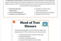 Test Closurewhy It's Required pertaining to Test Exit Report Template
