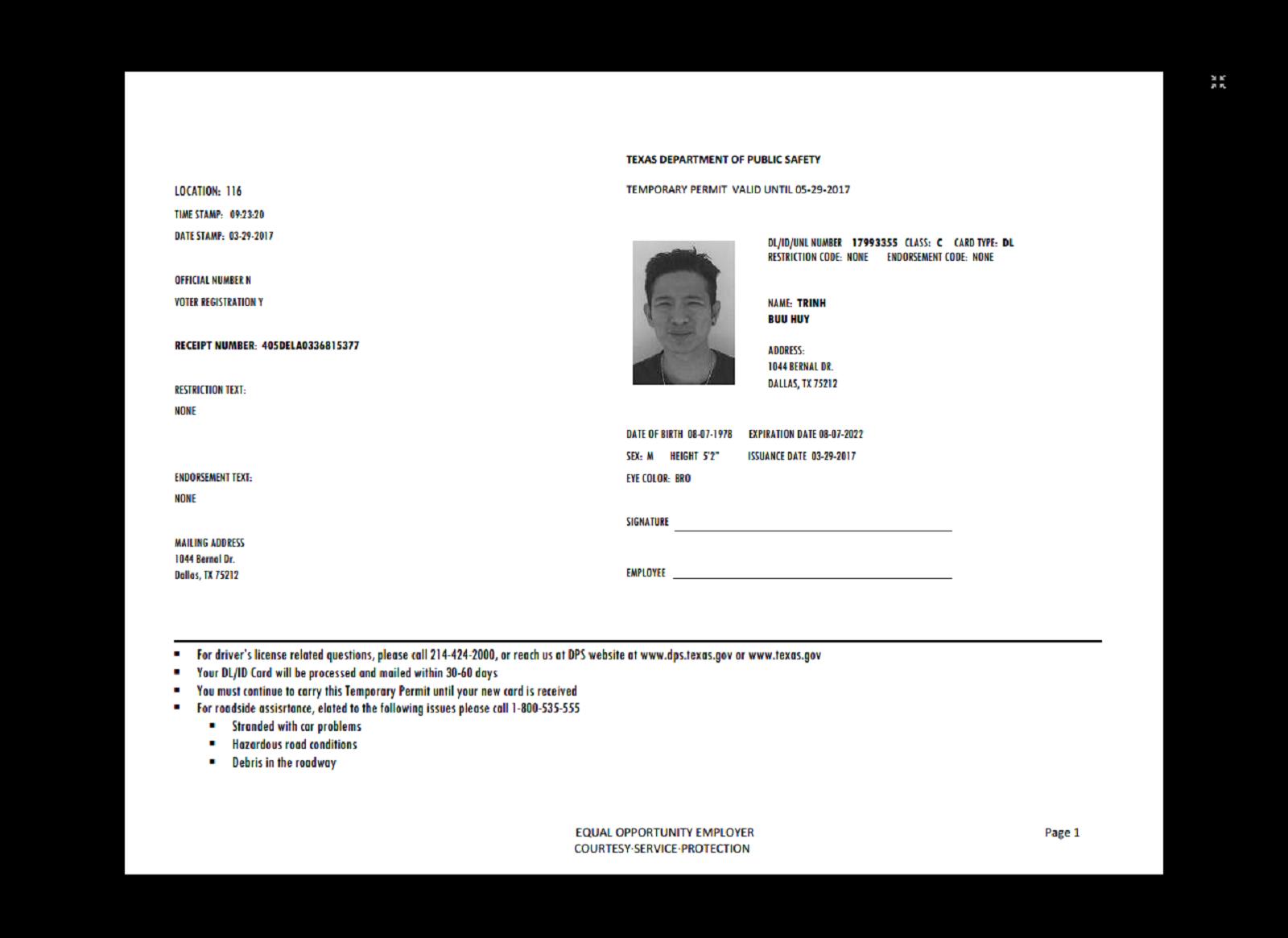 texas id card template