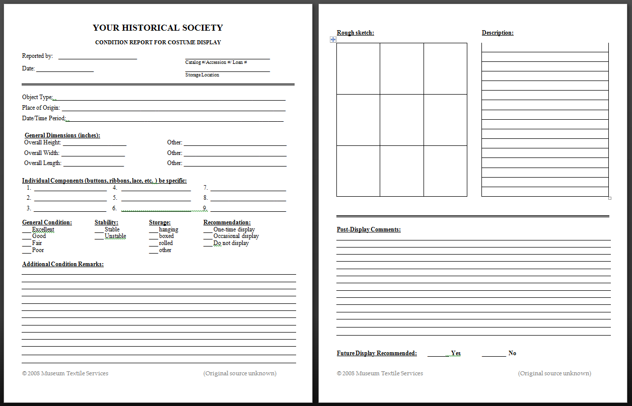 Textile Conservation Basics  Museum Textile Services With Property Condition Assessment Report Template