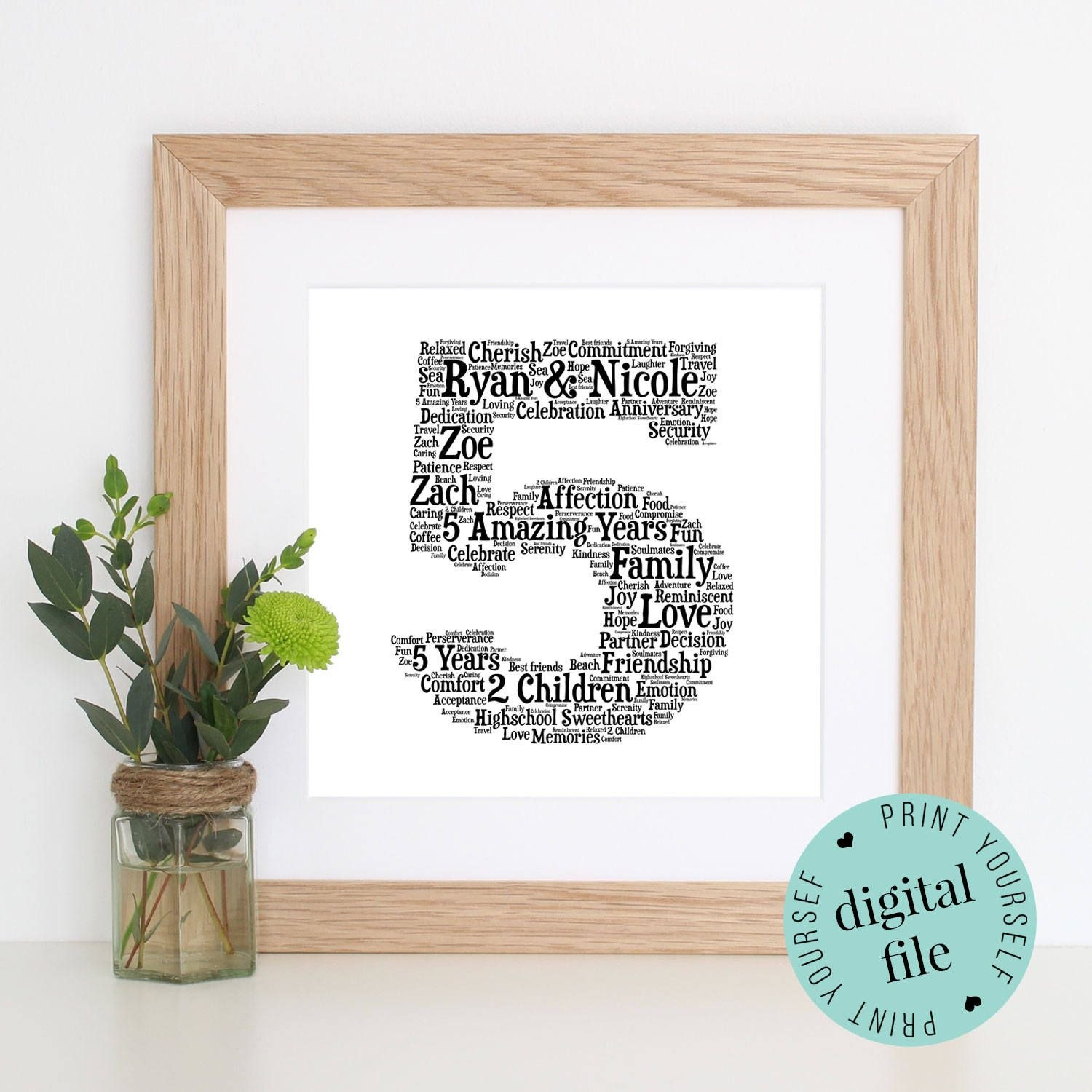Th Anniversary Gift  Word Art  Printable Gift   Year For Anniversary Card Template Word