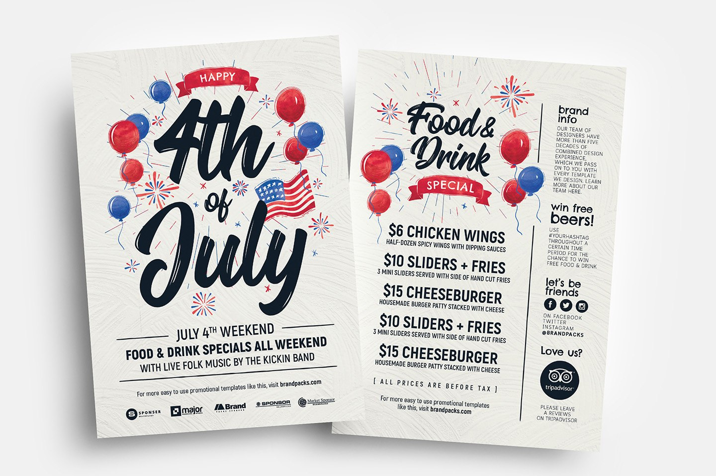Th Of July Flyer Template  Psd Ai  Vector  Brandpacks intended for 4Th Of July Menu Template