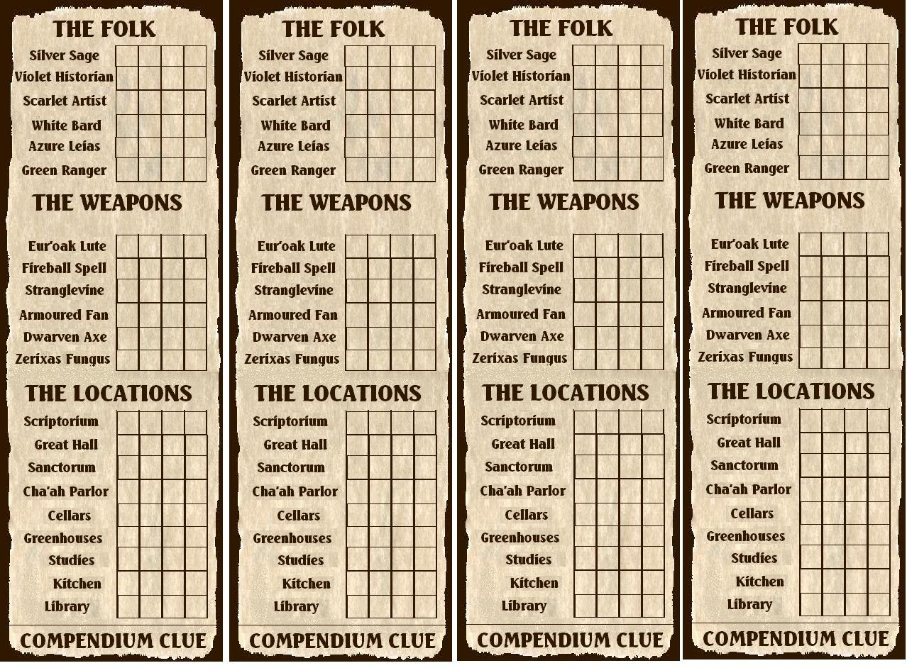 Th Santharian Anniversary Special The Compendium Clue Board Game In Clue Card Template