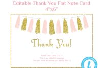 Thank You Card Template Flat Note Card Editable Card Pink Gold  Etsy inside Thank You Note Card Template