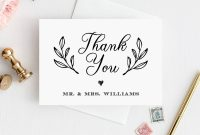 Thank You Card Template Printable Rustic Wedding Thank You Note for Thank You Note Card Template