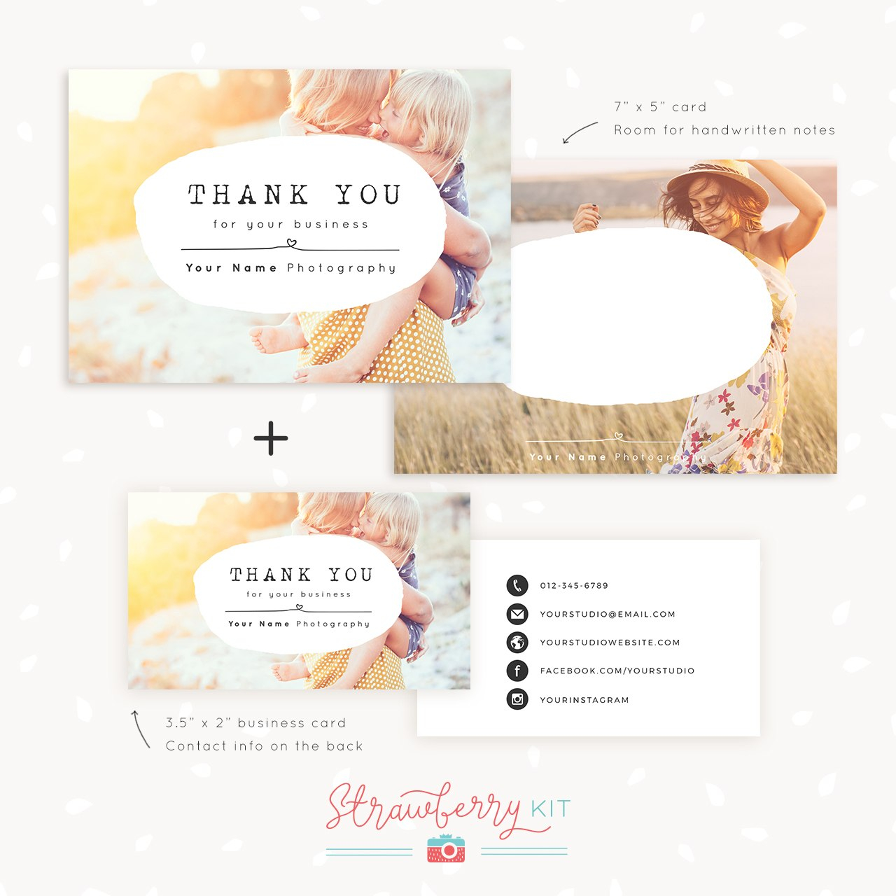 Thank You Note Card For Business  Set Of Two  Strawberry Kit Pertaining To Thank You Note Card Template