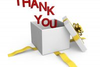 Thank You Words Coming Out Of Gift Box Stock Photo  Powerpoint with Powerpoint Thank You Card Template