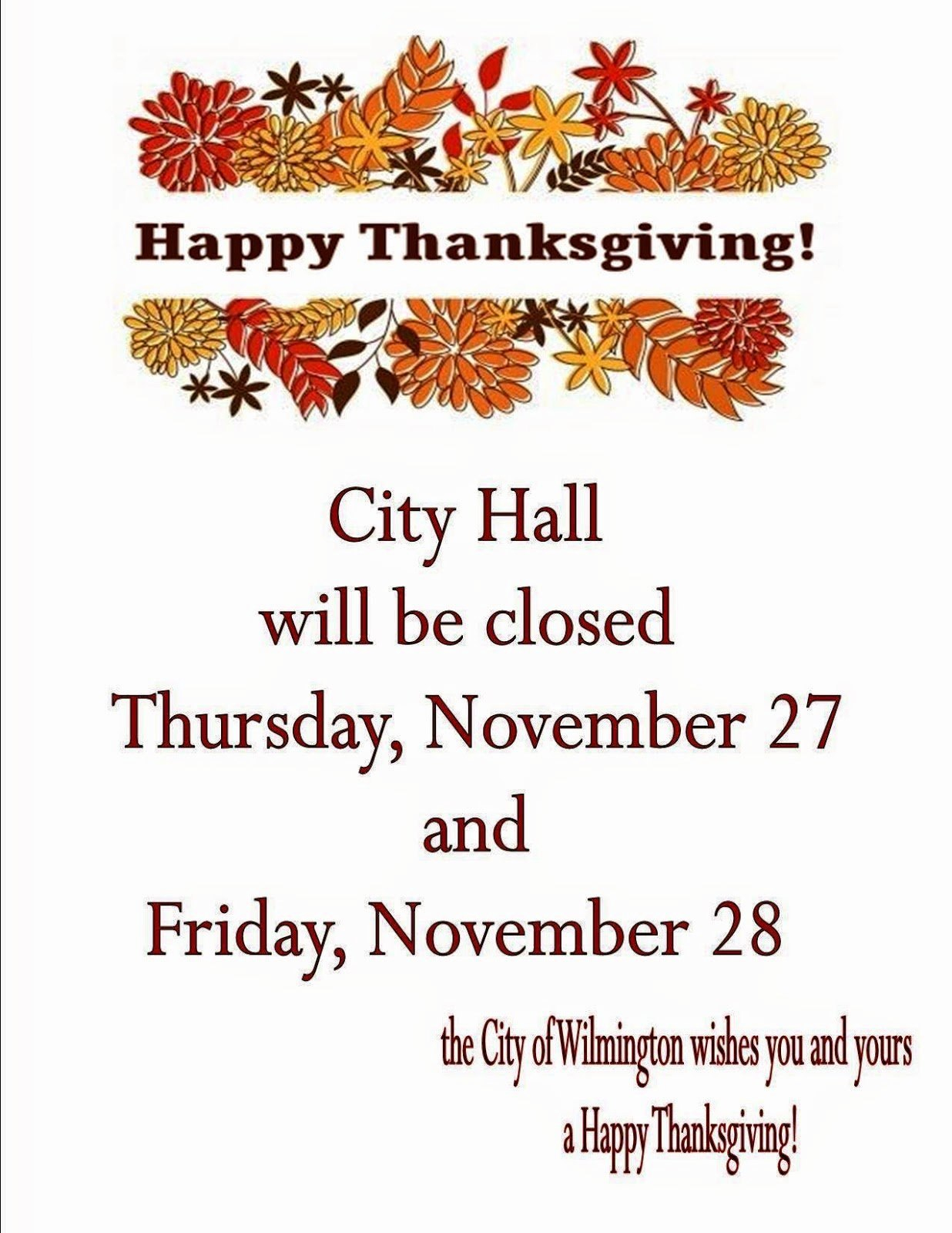 Thanksgiving Holiday Closed Sign For Printable Business Hours Sign Template
