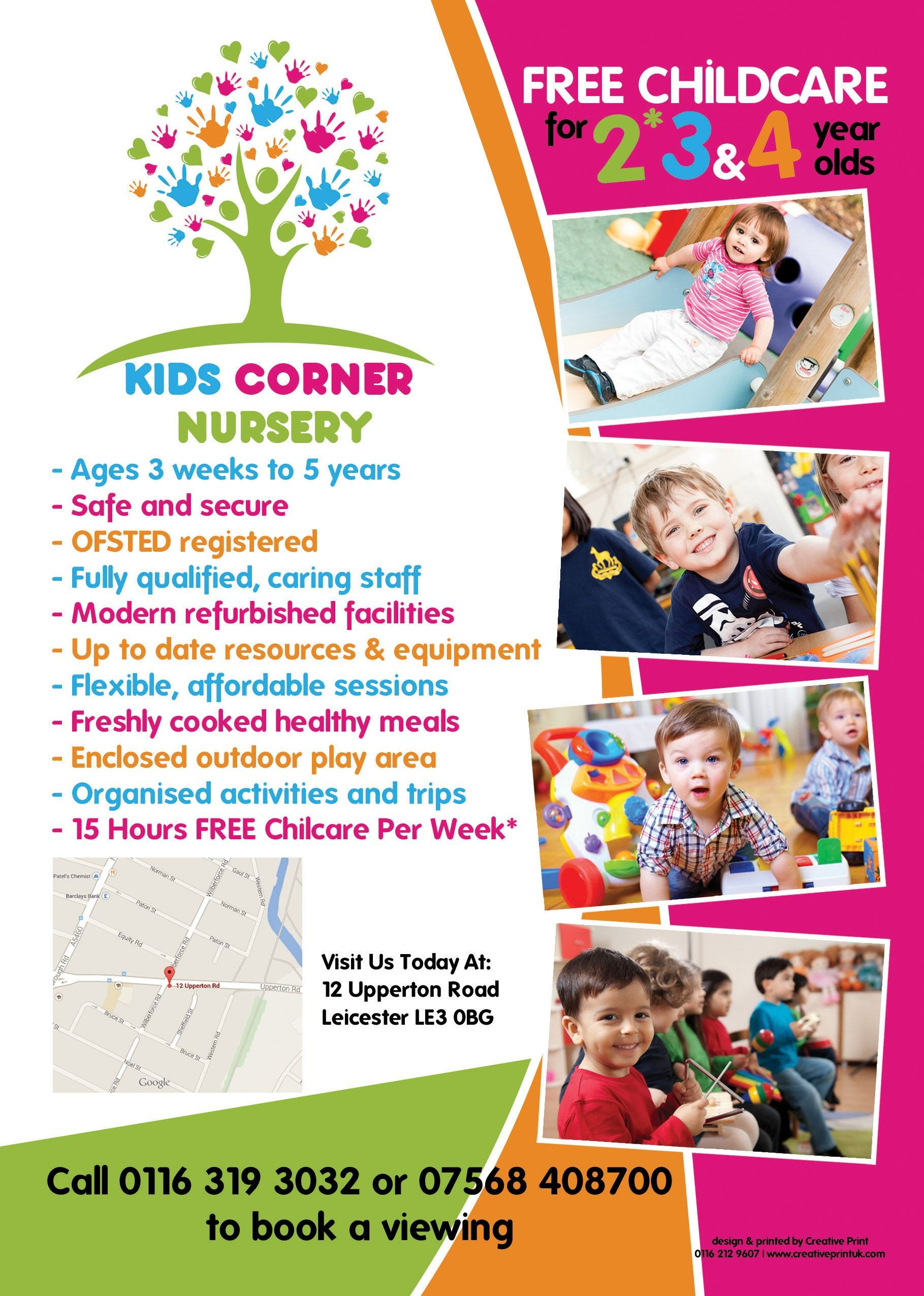 The Back Of An A Flyer Designed For Kids Corner Nursery In For Play School Brochure Templates