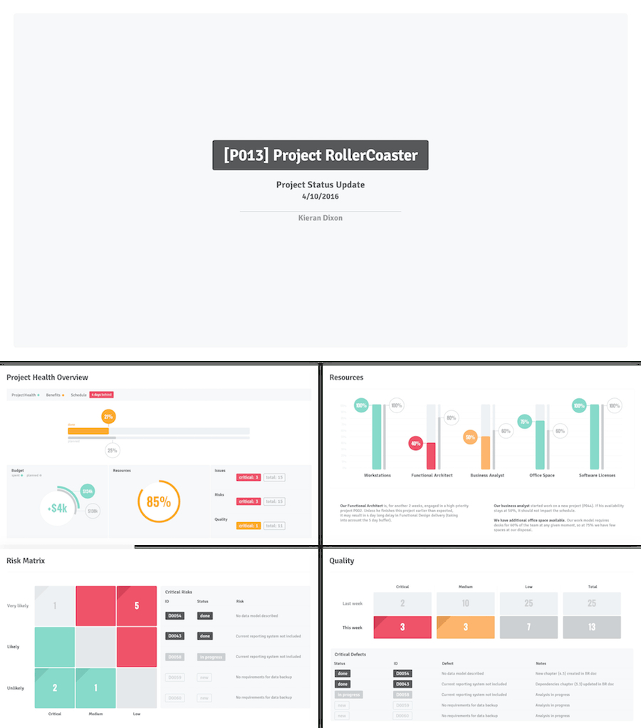 The  Best Powerpoint Templates For   Dashboardscorecard For Weekly Project Status Report Template Powerpoint