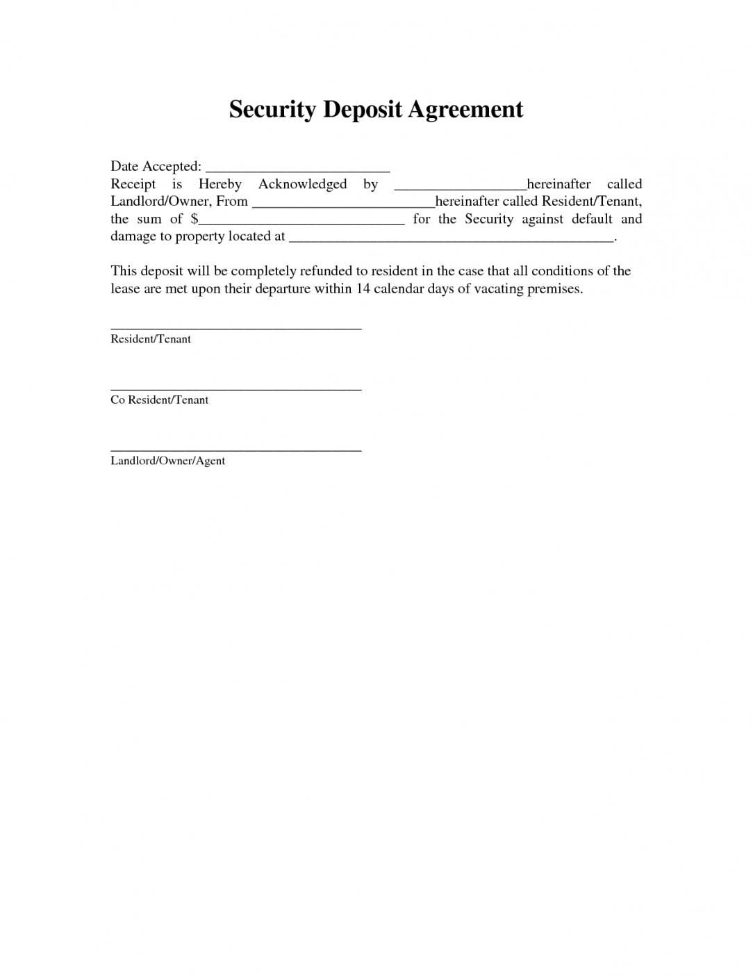 The Gallery Of Holding Deposit Agreement Form California Editable Regarding Holding Deposit Agreement Template