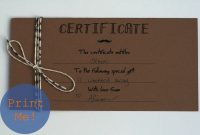 The Petit Cadeau Printable Gift Certificates For Men  Design throughout Homemade Gift Certificate Template