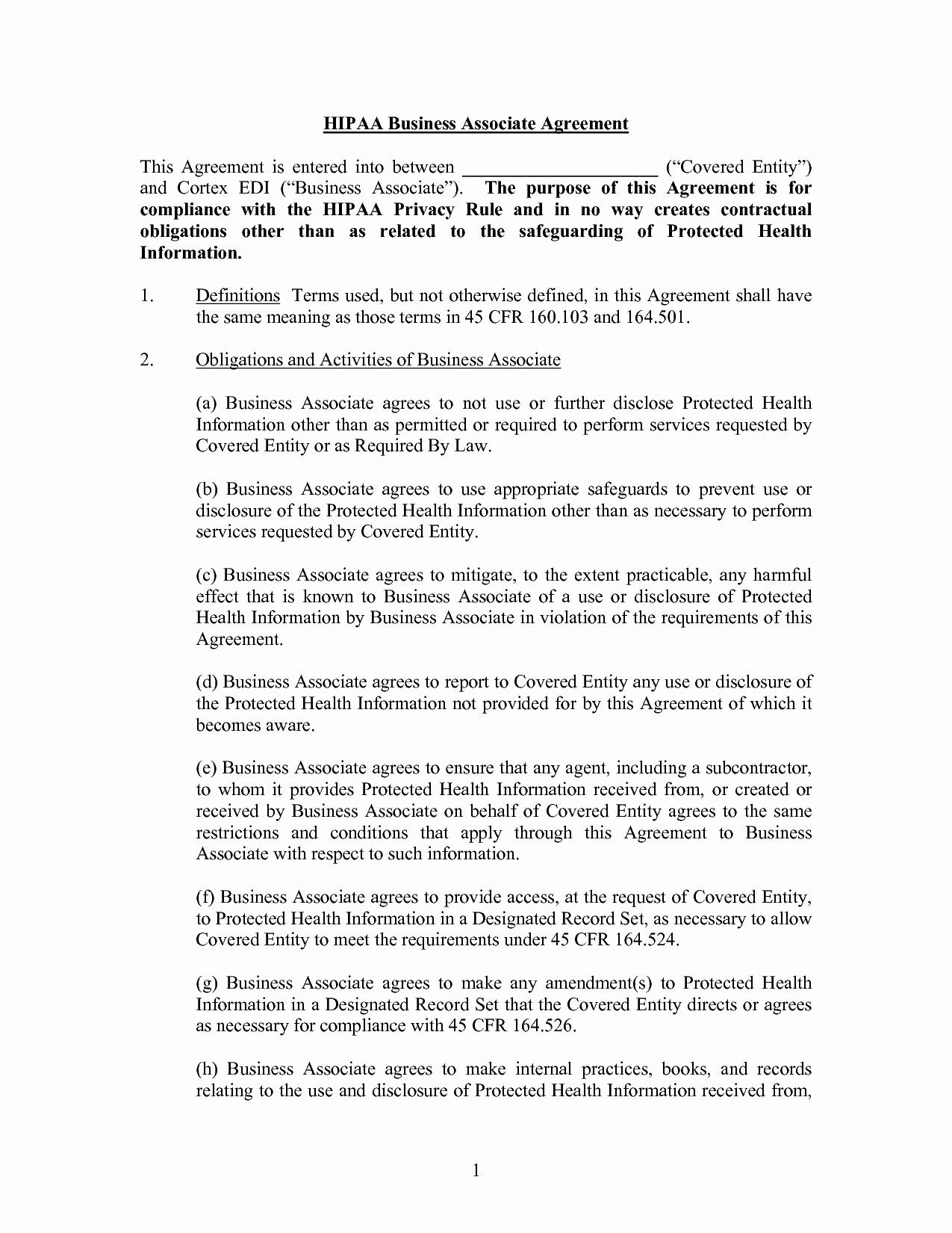 Then Free Hipaa Business Associate Agreement Form – Guiaubuntupt In Business Associate Agreement Hipaa Template
