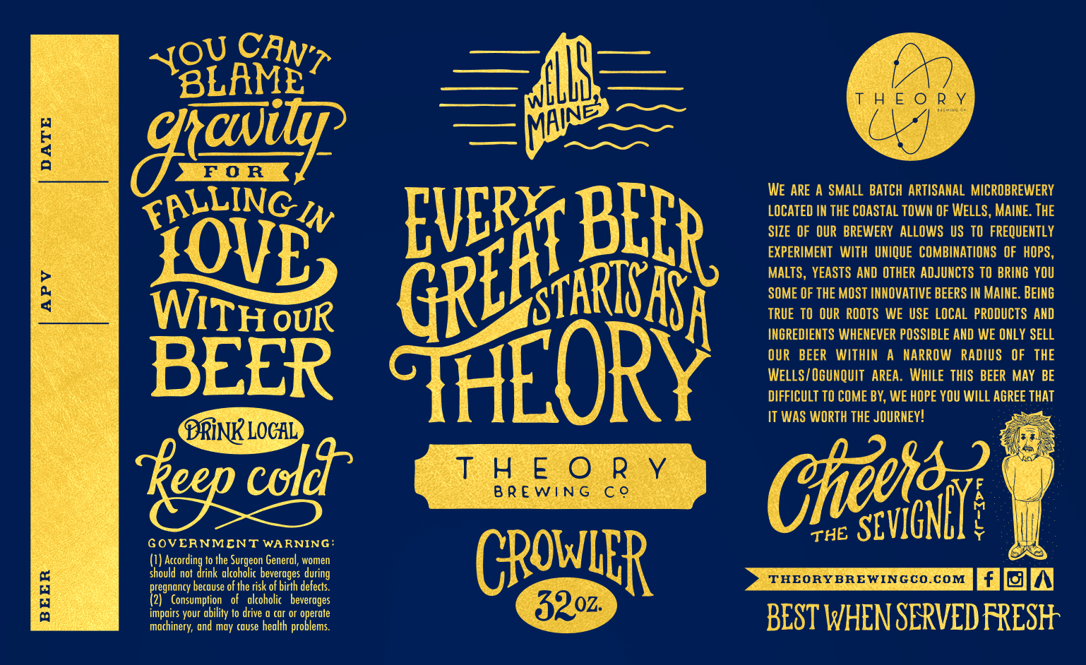 Theory Brewing Co Crowlers  Cans  Beer Label Design Craft Beer With Q Connect Label Template