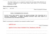 This Notice Informs You As A Prospective Tenants That The Tenancy pertaining to Scottish Short Assured Tenancy Agreement Template