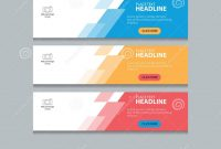 Three Color Web Banner Design Template Background Set Stock Vector pertaining to Website Banner Design Templates