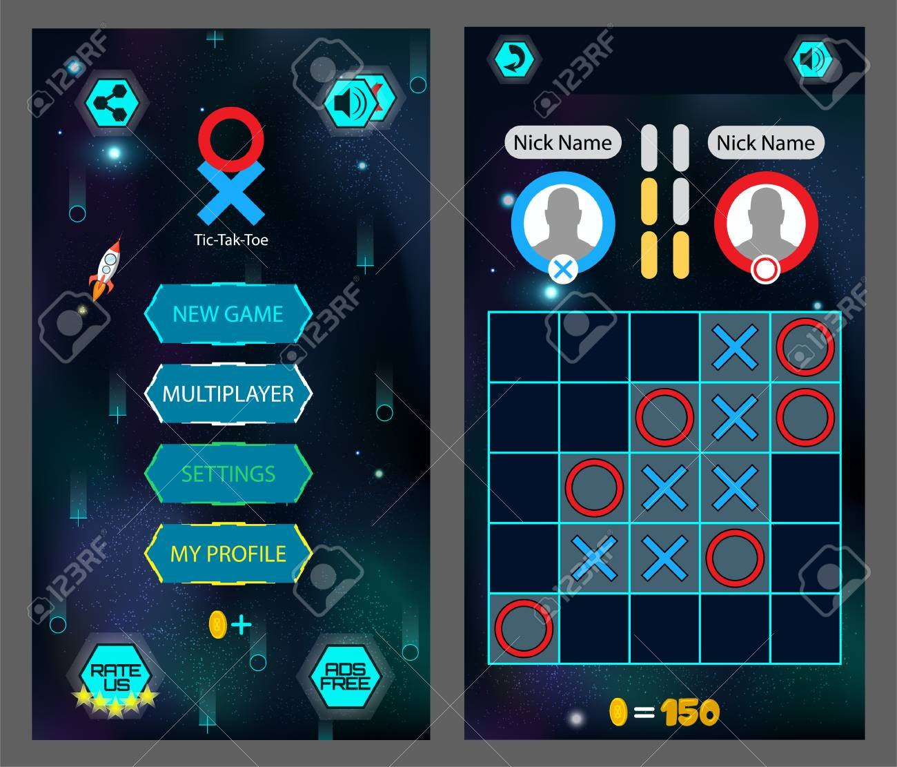 Tic Tac Toe Game Screen Mobile Full Game  Main Menu And Playing Throughout Tic Tac Toe Menu Template