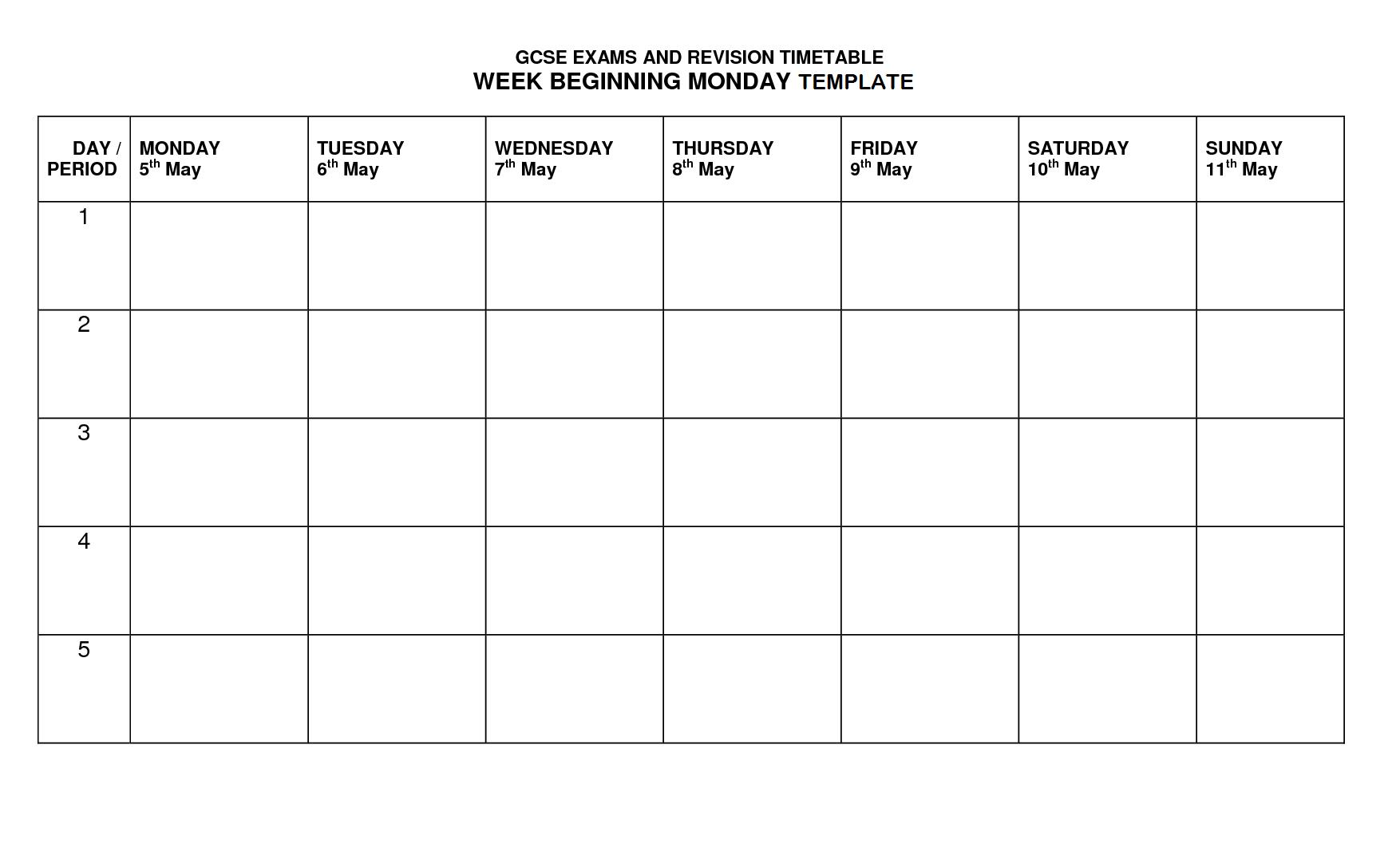 Timetable Template  Timetable Templates  Timetable Template Inside Blank Revision Timetable Template