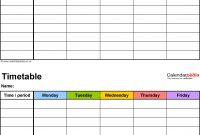 Timetable Templates For Microsoft Word  Free And Printable throughout Blank Revision Timetable Template