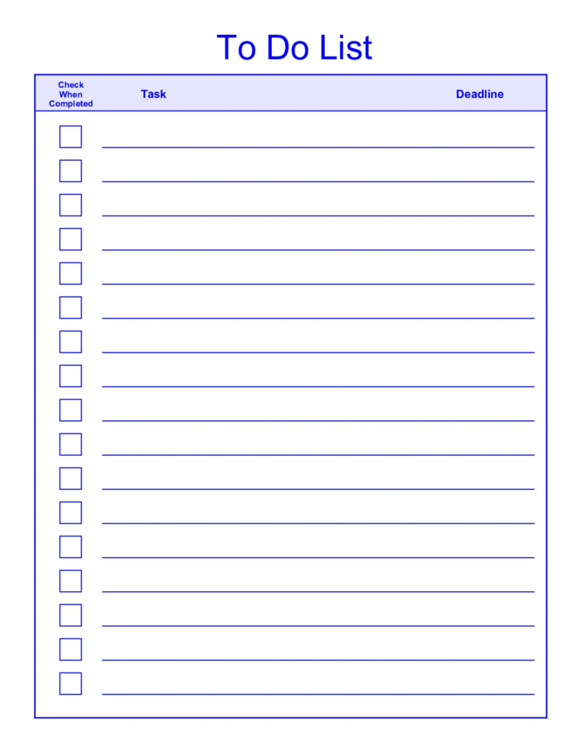 To Do List Template Word New  Things To Do List Template Pdf Regarding Blank Checklist Template Pdf