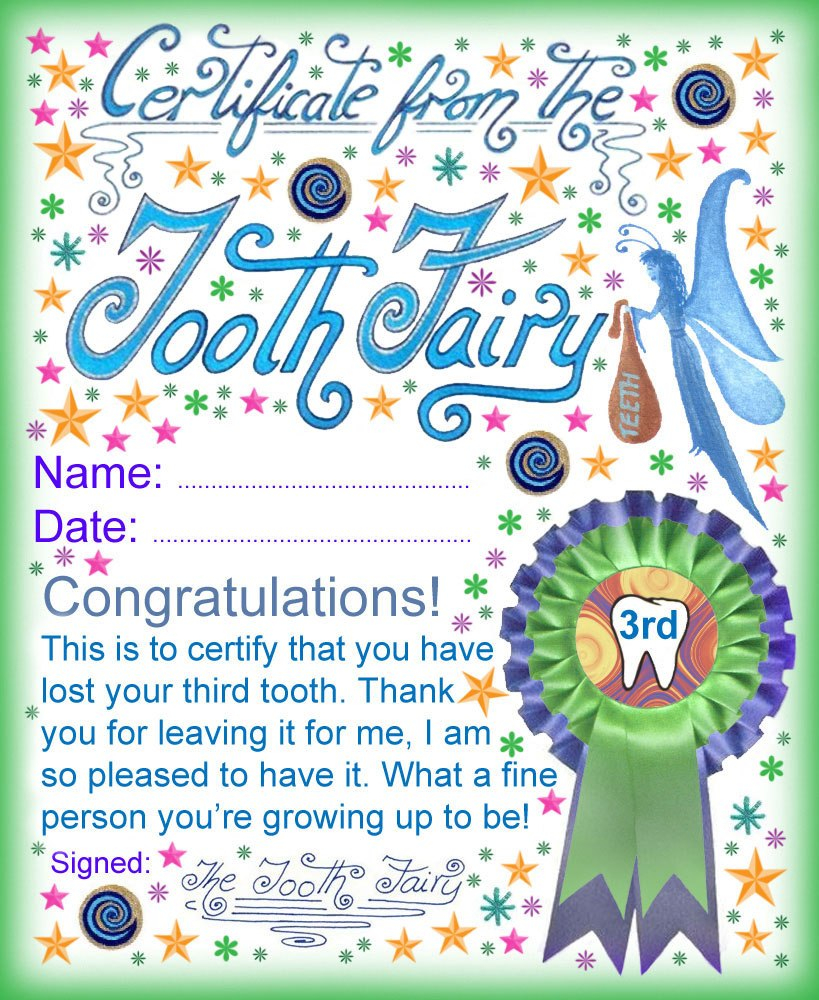 Tooth Fairy Certificate Award For Losing Your Third Tooth  Rooftop With Regard To Free Tooth Fairy Certificate Template