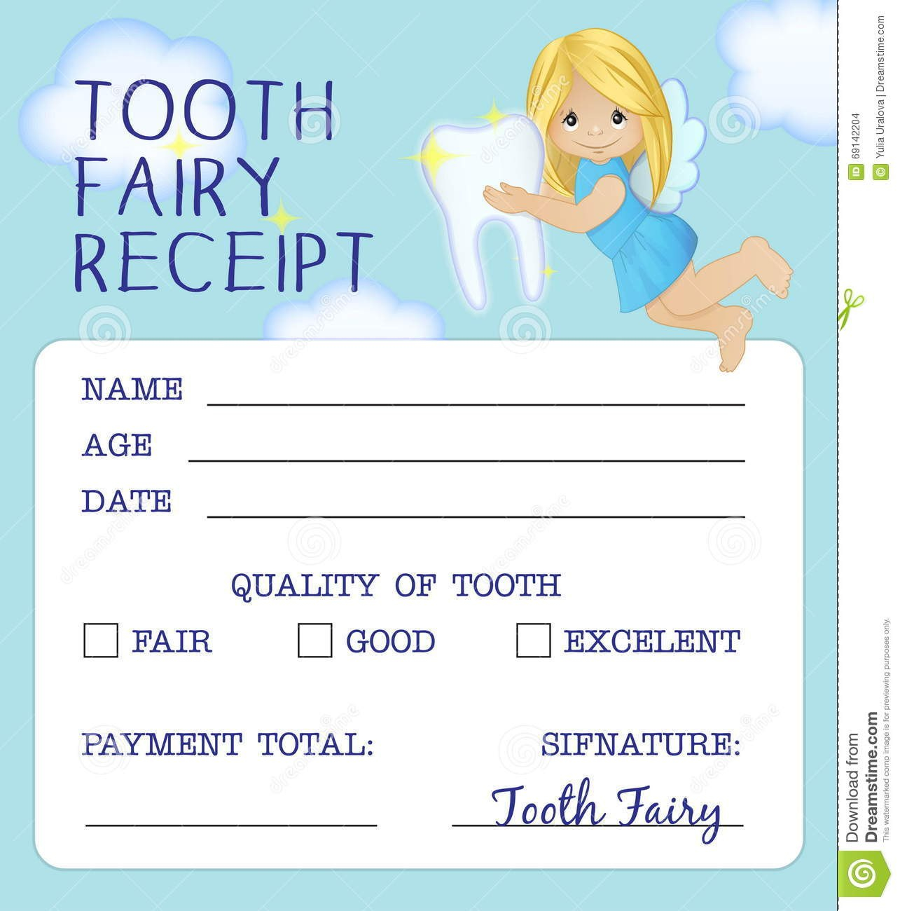 Tooth Fairy Receipt Certificate Design Stock Vector  Illustration Within Tooth Fairy Certificate Template Free