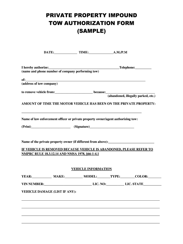 Tow Authorization Form  Fill Online Printable Fillable Blank For Towing Service Agreement Template