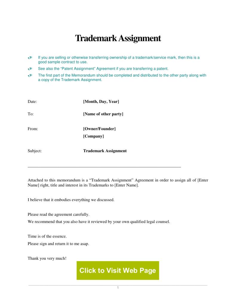 Trademark Assignment Agreement Pertaining To Trademark Assignment Agreement Template