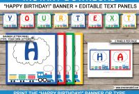 Train Party Banner Template  Happy Birthday Banner  Editable Bunting with Diy Party Banner Template