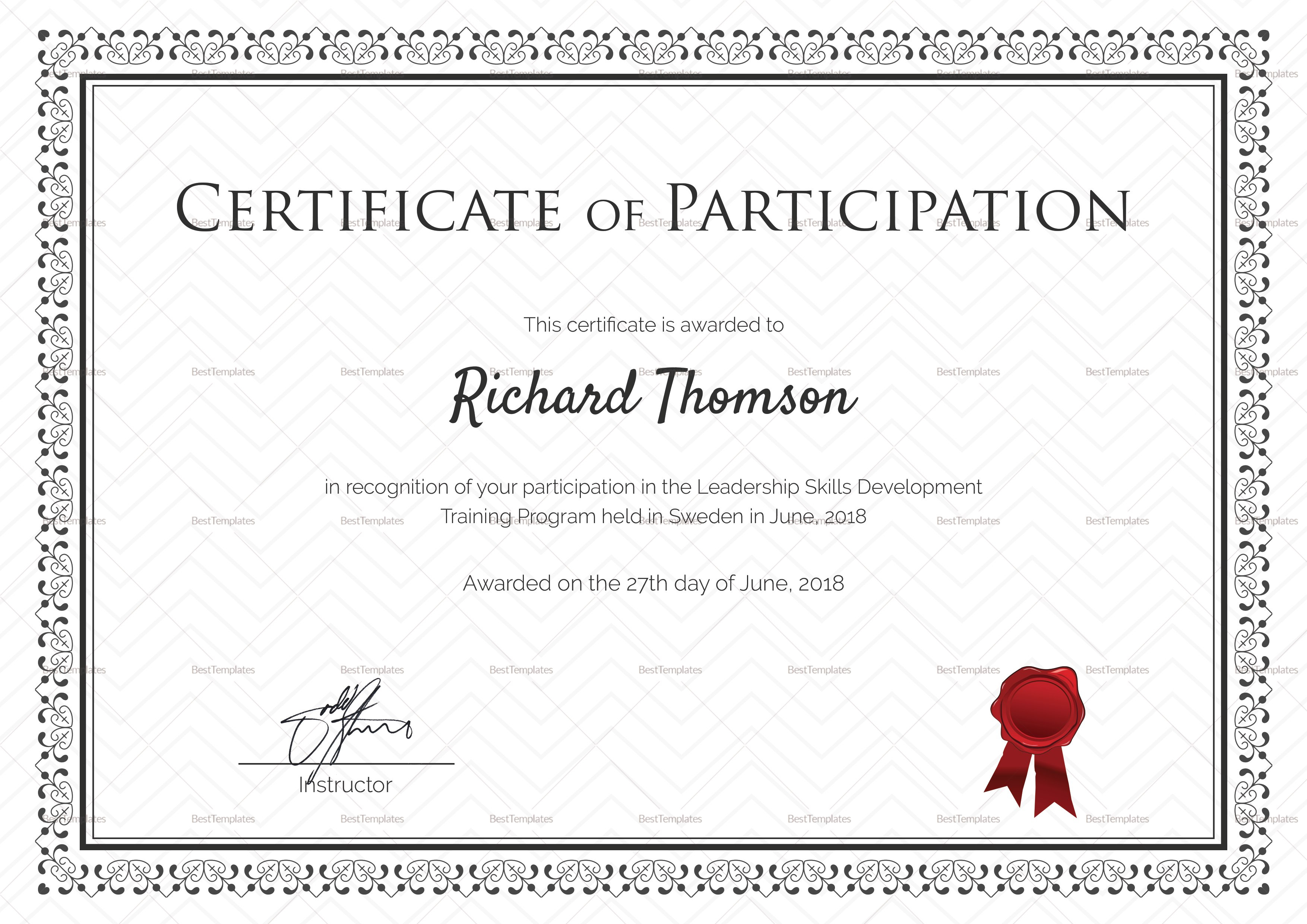 Training Participation Certificate Design Template In Psd Word Throughout Templates For Certificates Of Participation