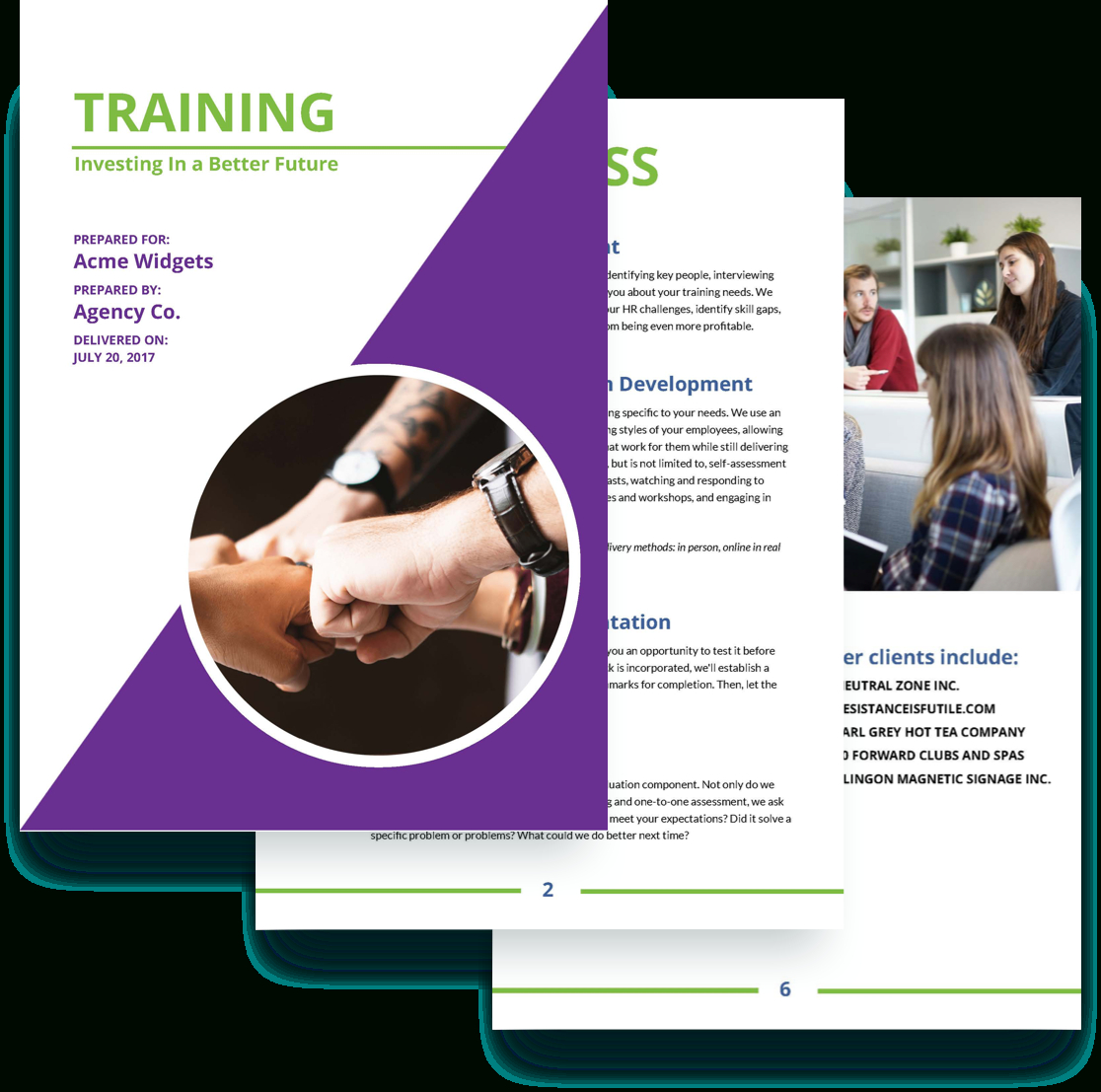 Training Proposal Template  Free Sample  Proposify Intended For Training Brochure Template