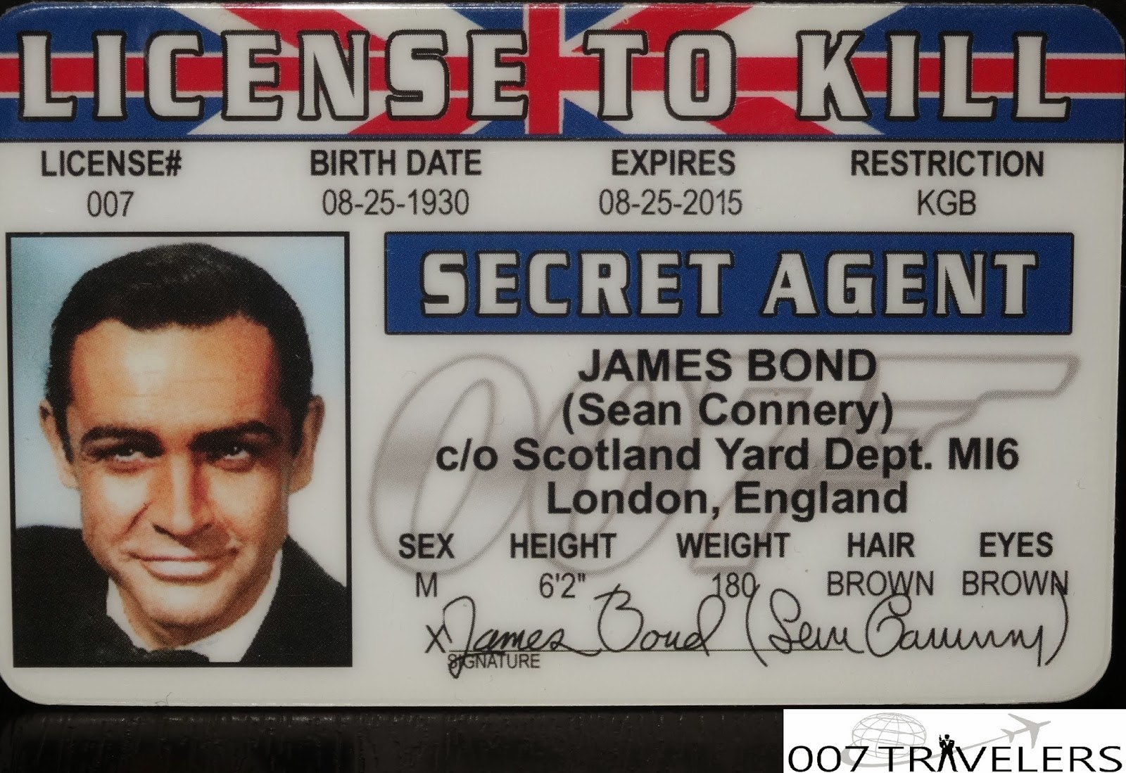 Travelers  Item License To Kill Id Card For Mi6 Id Card Template