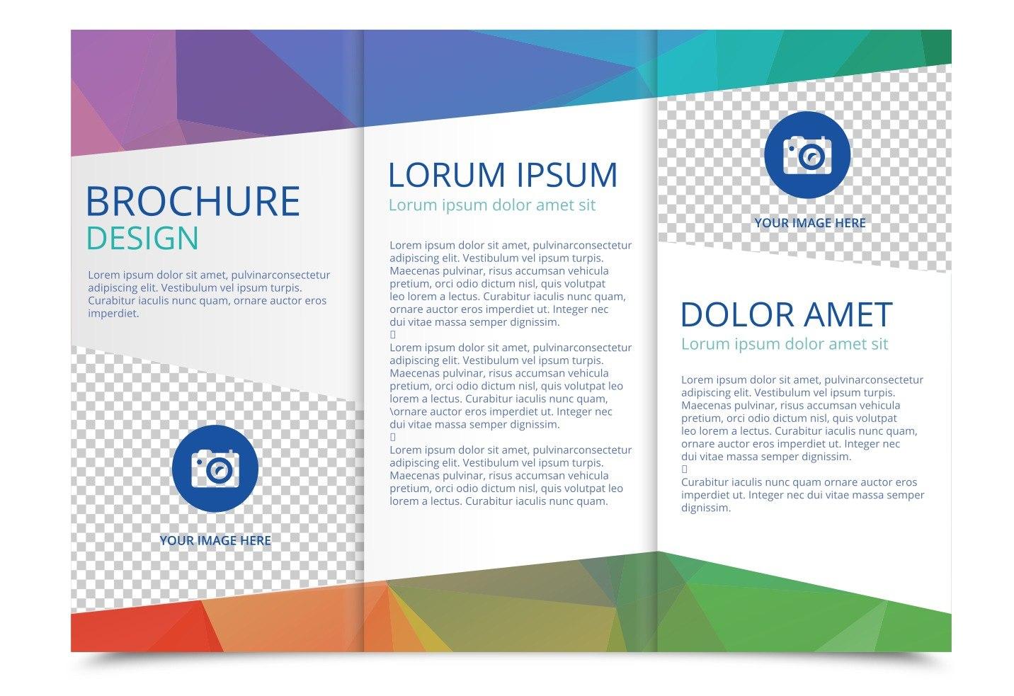 Tri Fold Brochure Vector Template  Download Free Vector Art Stock For Free Three Fold Brochure Template