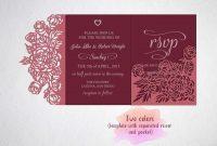 Tri Fold Wedding Invitation Card Template Laser Cut Sxg Dxf inside Three Fold Card Template
