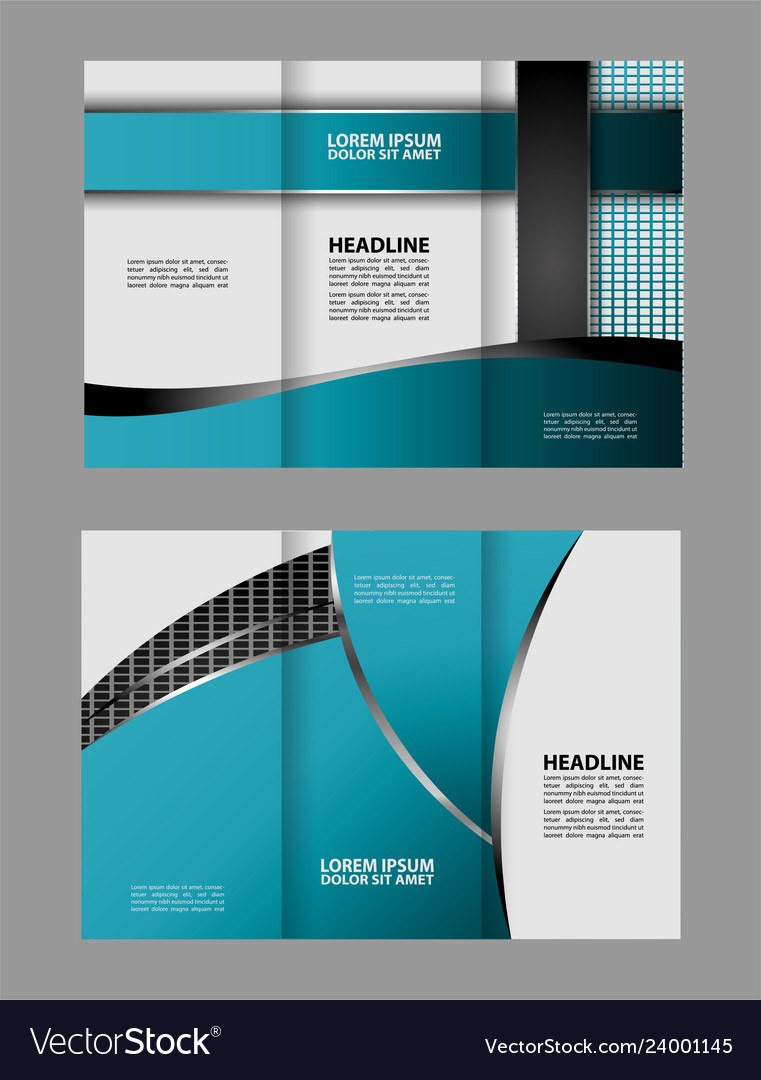 Trifold Business Brochure Template Twosided Tem Vector Image In Double Sided Tri Fold Brochure Template
