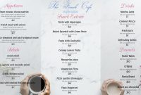 Trifold French Restaurant Menu Template  French Menu Templates pertaining to French Cafe Menu Template