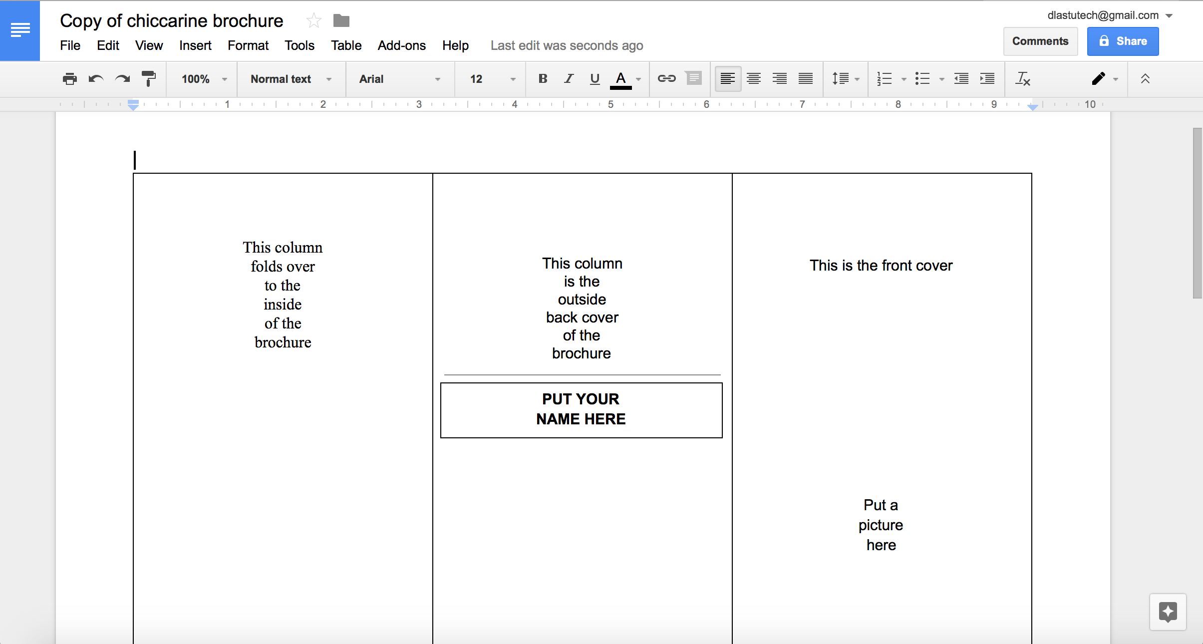 Tutorial Making A Brochure Using Google Docs From A Template Inside Google Drive Templates Brochure