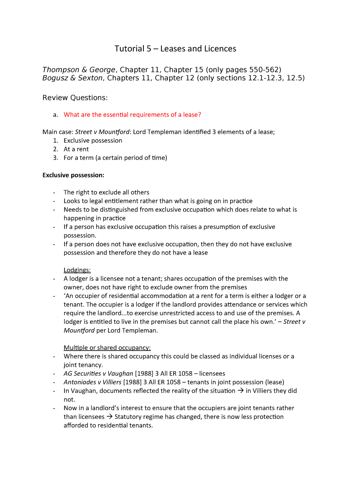 Tutorial  Notes  Lw Land Law  Studocu Regarding Excluded Licence Lodger Agreement Template