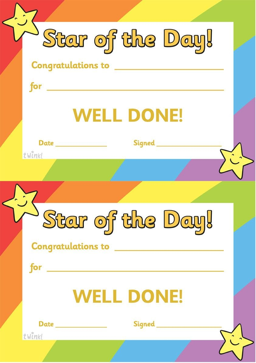 Twinkl Resources  Star Of The Day  Thousands Of Printable Within Star Of The Week Certificate Template