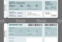 Two Simple Generic Airport Boarding Pass Icons One Has 'dummy' Text within Blank Train Ticket Template