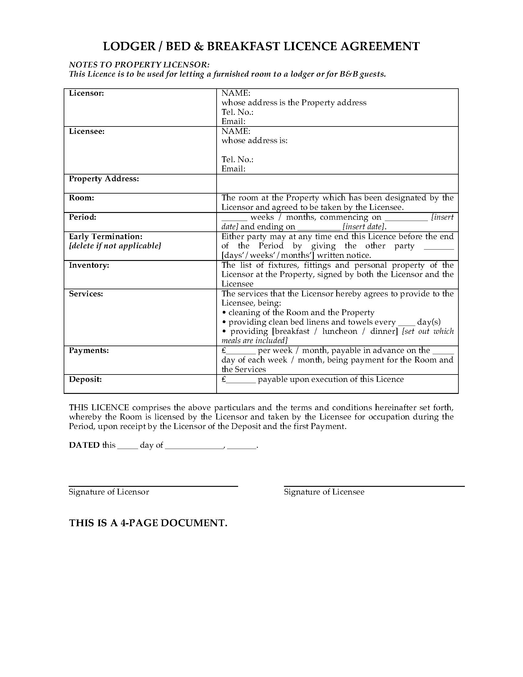 Uk Bed And Breakfast Licence Agreement  Legal Forms And Business Regarding Landlord Lodger Agreement Template