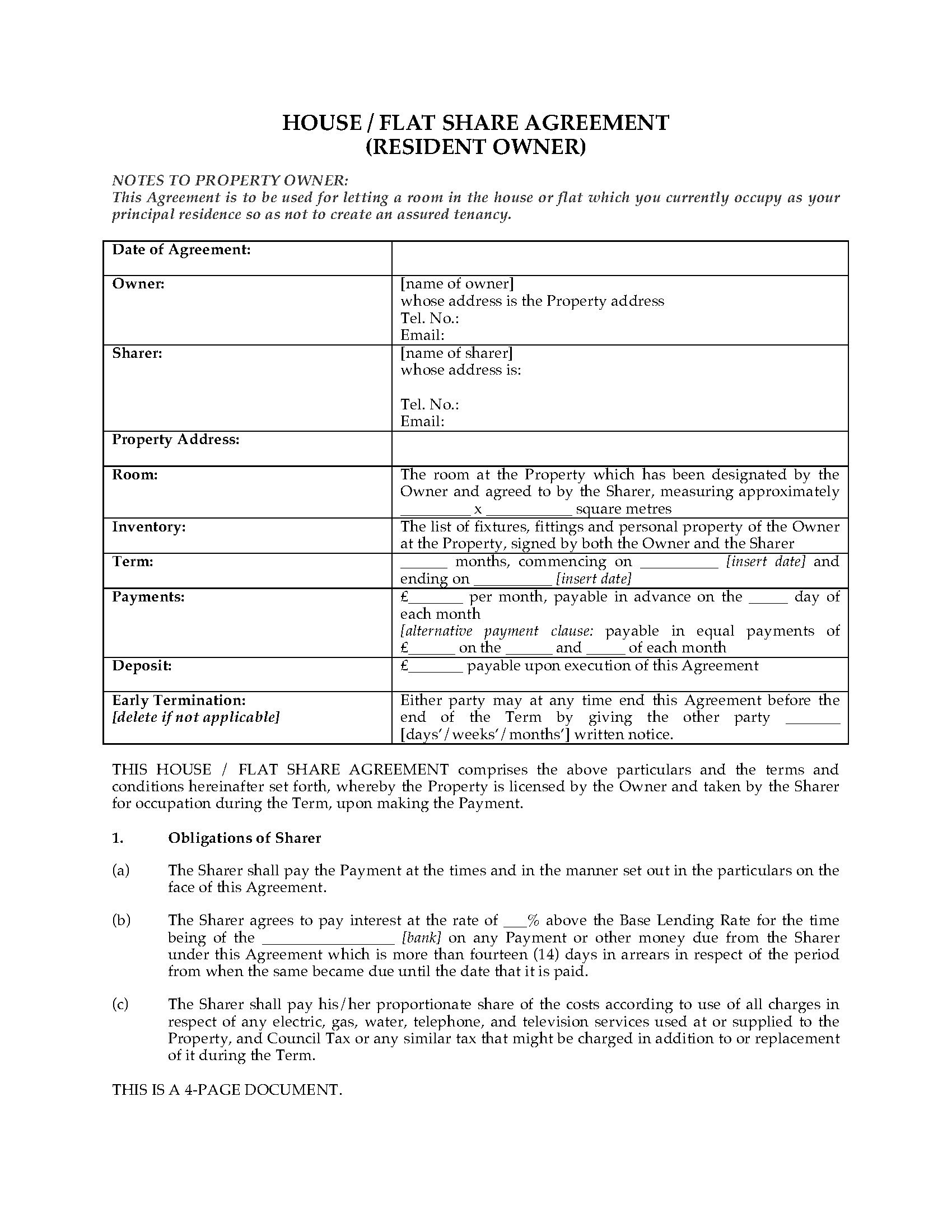 Uk House  Flat Share Agreement With Resident Owner  Legal Forms Throughout Termination Of Lodger Agreement Template