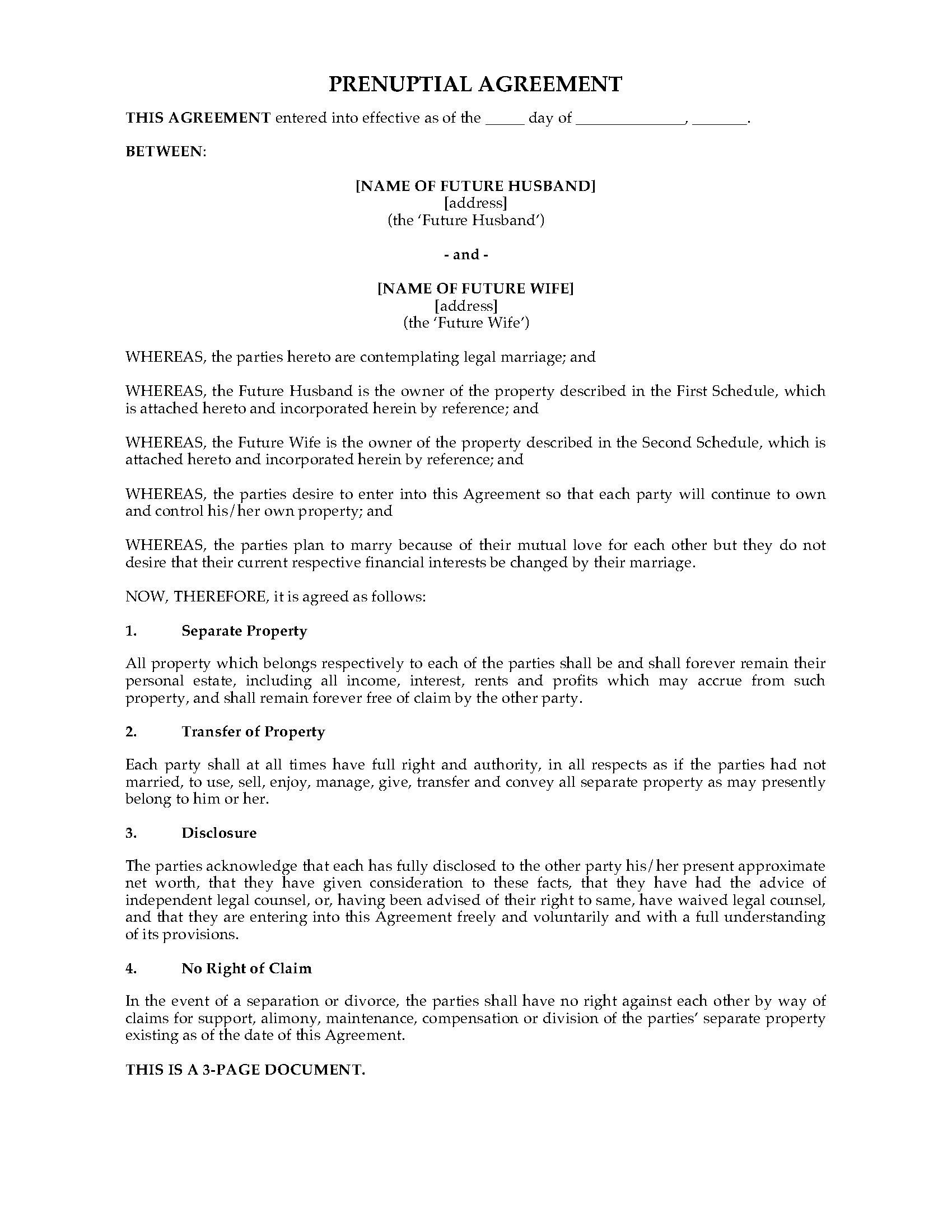 Uk Prenuptial Agreement  Legal Forms And Business Templates With Regard To New York Prenuptial Agreement Template