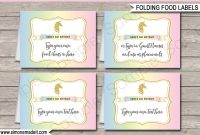 Unicorn Food Labels  Place Cards  Unicorn Birthday Party Theme for Birthday Labels Template Free