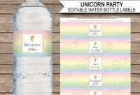 Unicorn Water Bottle Labels Template  Unicorn  Unicorn Water with regard to Birthday Water Bottle Labels Template Free