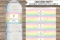 Unicorn Water Bottle Labels Template  Unicorn  Unicorn Water with regard to Template For Bottle Labels