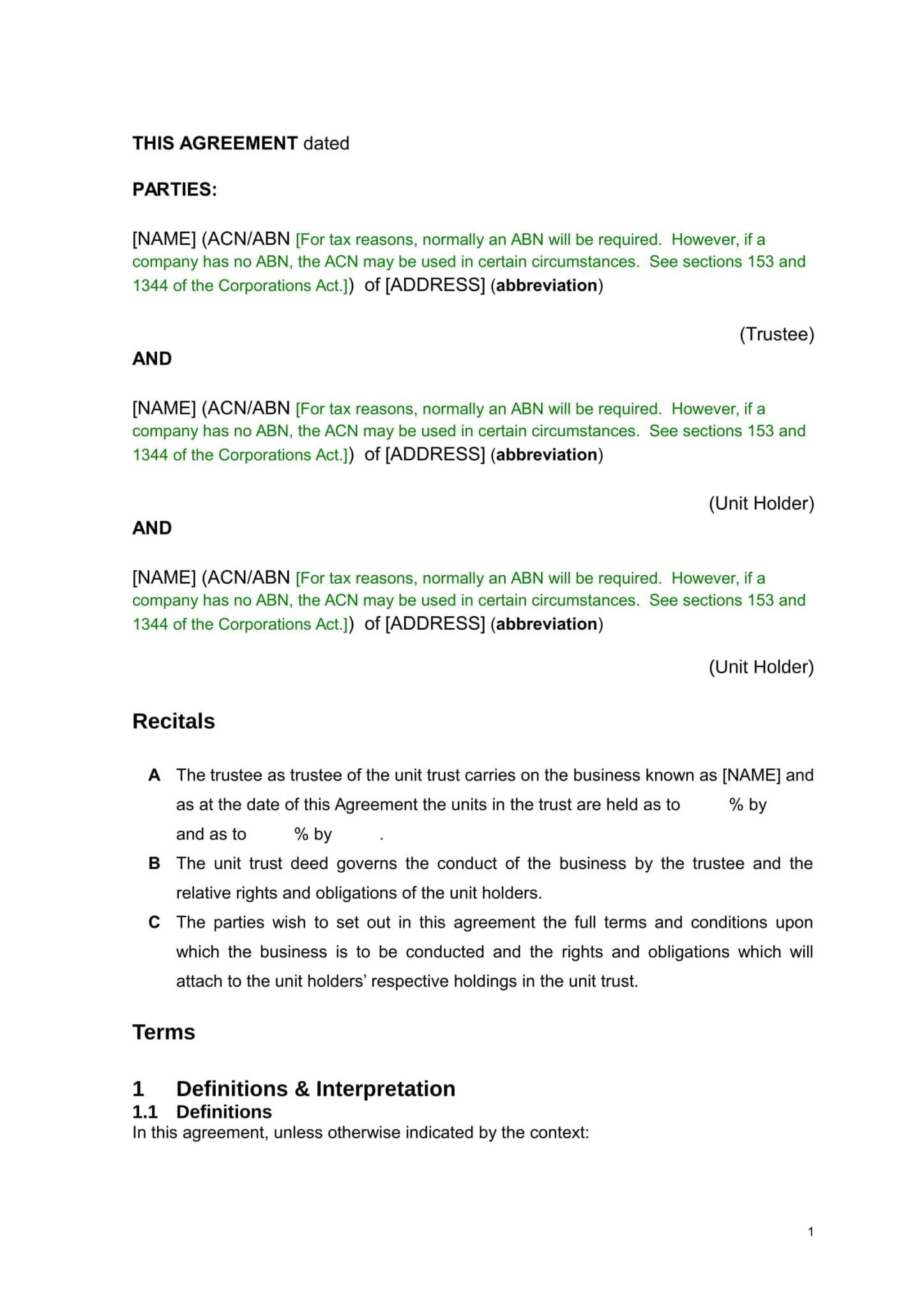 Unit Holders Agreement With Trust  Download In Word Immediately Intended For Unitholders Agreement Template