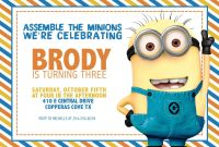 Updated Bunch Of Minion Birthday Party Invitations Ideas  Free inside Minion Card Template