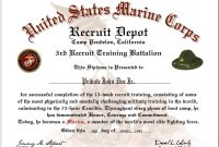 Us Marine Corps Boot Camp Graduation Certificate Inside Boot Camp Certificate Template