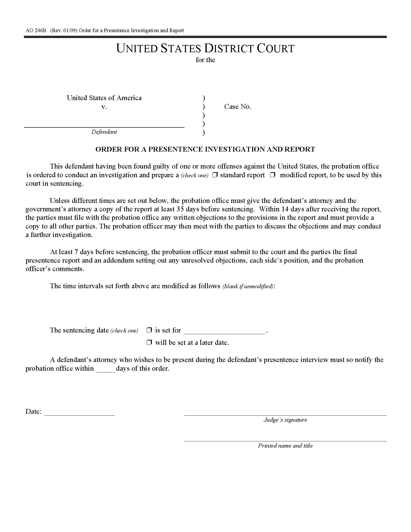 Usa Order For Presentence Investigation And Report Form Aob With Presentence Investigation Report Template