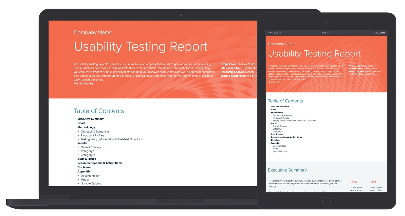 Usability Testing Report Template And Examples  Xtensio In Test Result Report Template